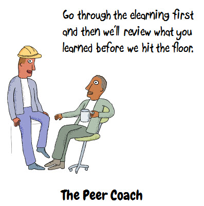 The Rapid E-Learning Blog - the peer coach reviews what the person learned in the elearning course
