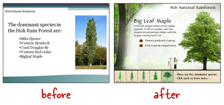 Articulate Rapid E-Learning Blog - before adn after example of visually immersive interactive elearning courses