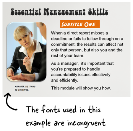 Articulate Rapid E-Learning Blog - too many fonts used in an elearning course
