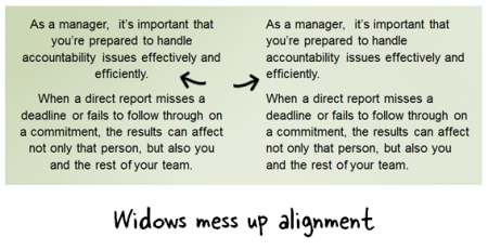 Articulate Rapid E-Learning Blog - avoide leaving widows in the your text