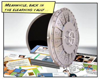 Image of a vault open with elearning material.