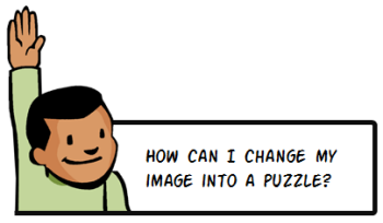 How can I chnage my picture into an animated puzzle using PowerPoint