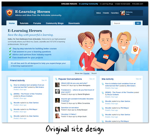Articulate Rapid E-Learning Blog - website to inspire elearning template design