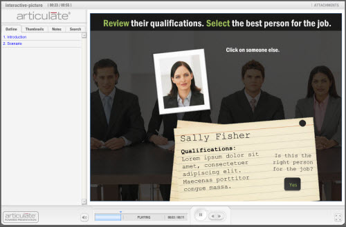 Articulate Rapid E-Learning Blog - interactive picture scenario built in PowerPoint