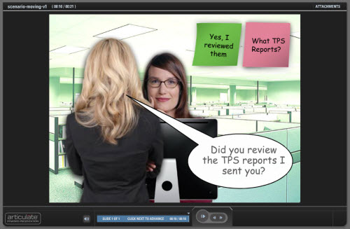 Articulate Rapid E-Learning Blog - animated response scenario in PowerPoint