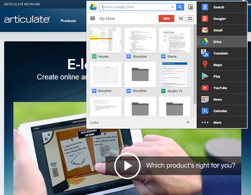 Articulate Rapid E-Learning Blog - use this app to access Google and elearning content
