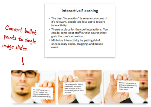 Articulate Rapid E-Learning Blog - a simple way to get rid of bullet points