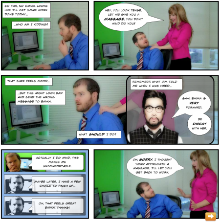 Articulate Rapid E-Learning Blog - comic book elearning examples broken co-worker sample