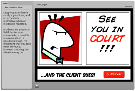 Articulate Rapid E-Learning Blog - comic book elearning examples click navigation sample