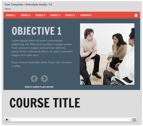 Here are some free e learning templates to speed up your course articulate rapid e learning blog elearning example of free powerpoint template in html5 for toneelgroepblik Gallery