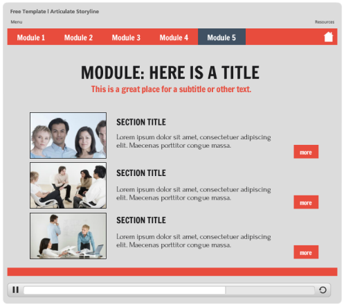 Articulate Rapid E-Learning Blog - example of free elearning template published in Flash and HTML5