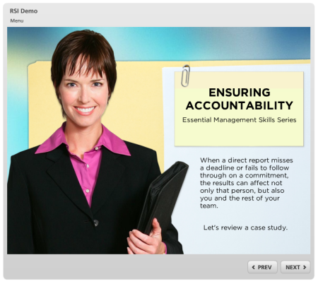 Articulate Rapid E-Learning Blog - example of an online training course that uses free graphics