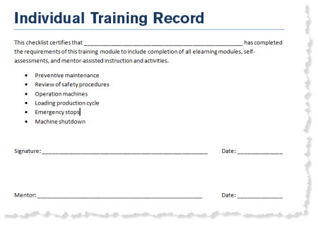 The Rapid E-Learning Blog - example of an individual training record