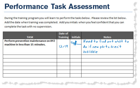 The Rapid E-Learning Blog - example of a checklist of performance tasks