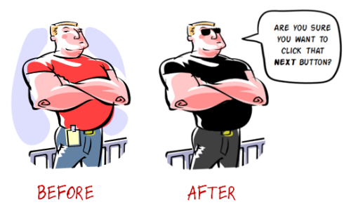 Articulate Rapid E-Learning Blog - before and after versions of customized free clip art