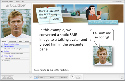 The Rapid E-Learning Blog - examples of animated avatars