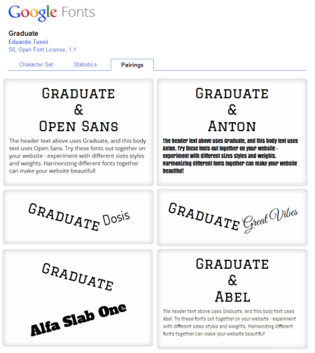 Articulate Rapid E-learning Blog - Google web fonts pairing tab to pair fonts for online training
