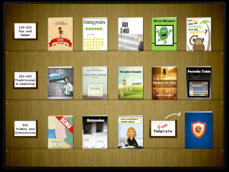 Articulate Rapid E-learning Blog - free Bookshelf template and interaction includes a sample elearning course