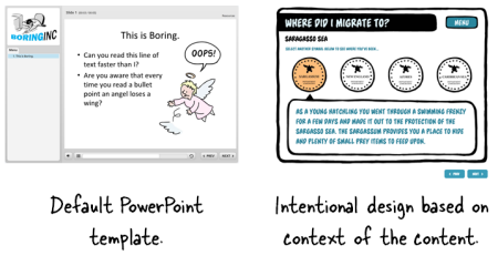 Articulate Rapid E-Learning Blog - avoid the default settings in PowerPoint