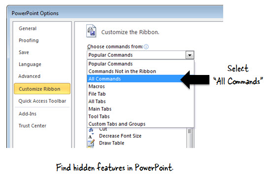 Articulate Rapid E-Learning Blog - how to find features when customizing the ribbon in PowerPoint
